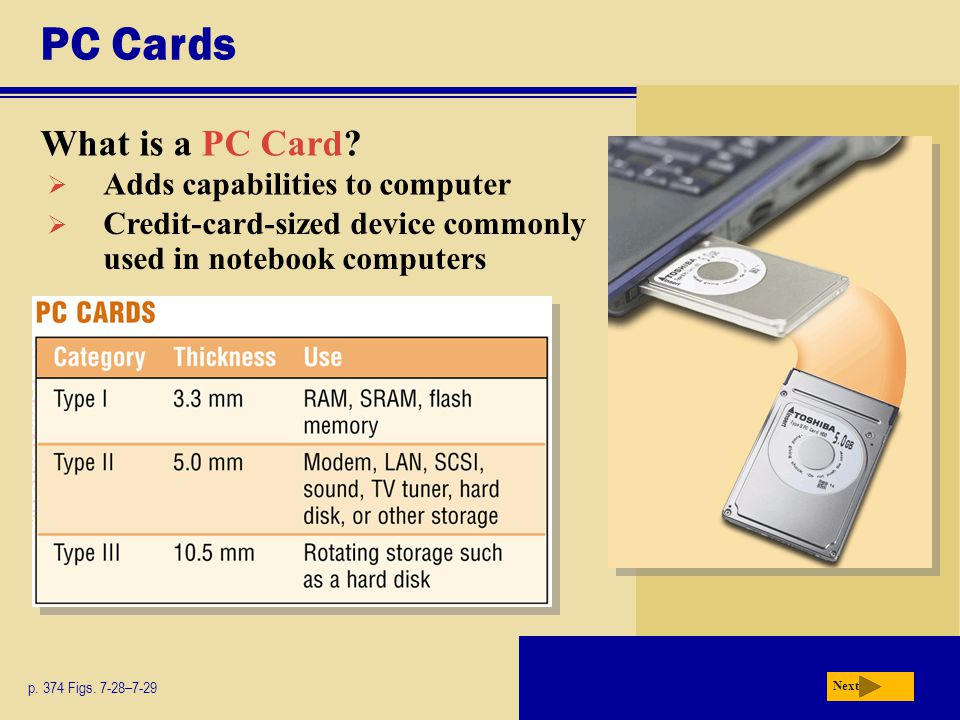 PC Cards What is a PC Card.p. 374 Figs.