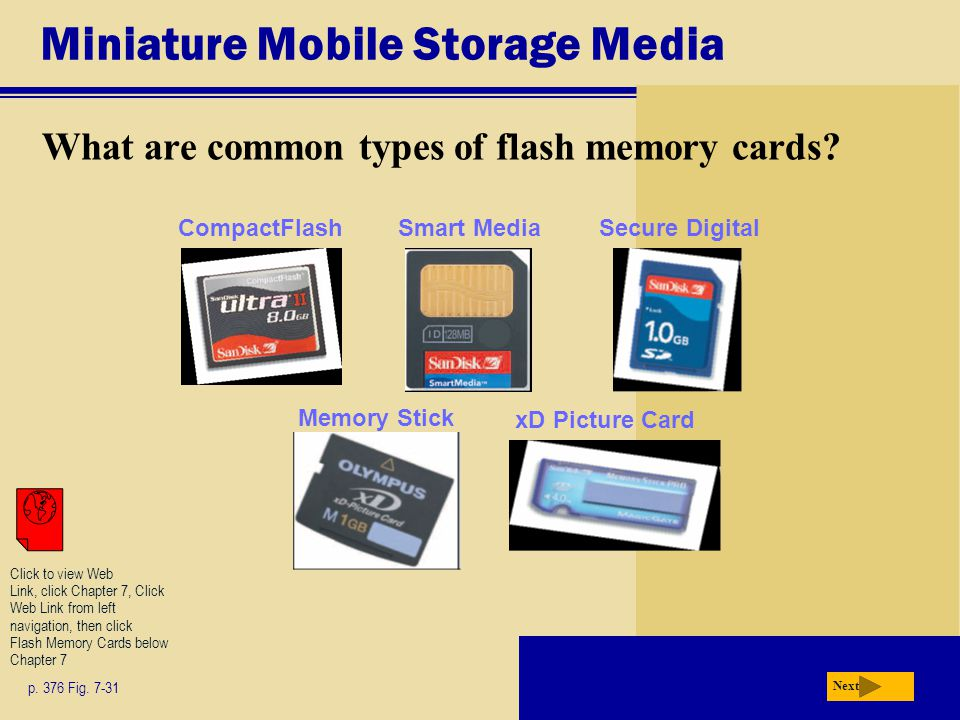 Miniature Mobile Storage Media What are common types of flash memory cards.