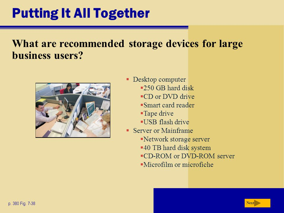Putting It All Together What are recommended storage devices for large business users.