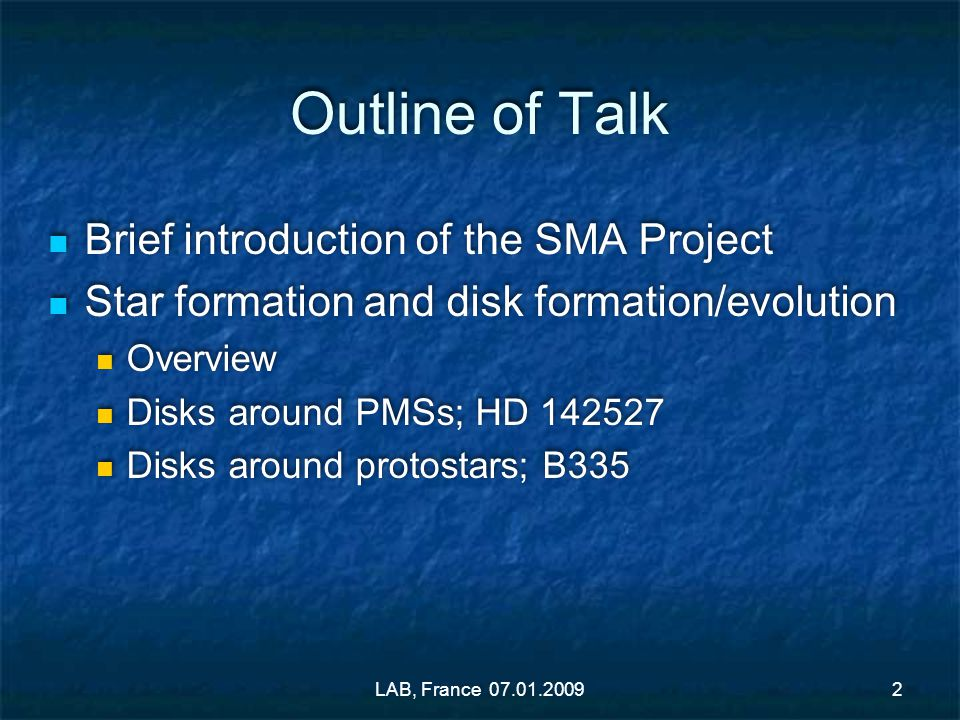 Outline of Talk Brief introduction of the SMA Project Star formation and disk formation/evolution Overview Disks around PMSs; HD 142527 Disks around p