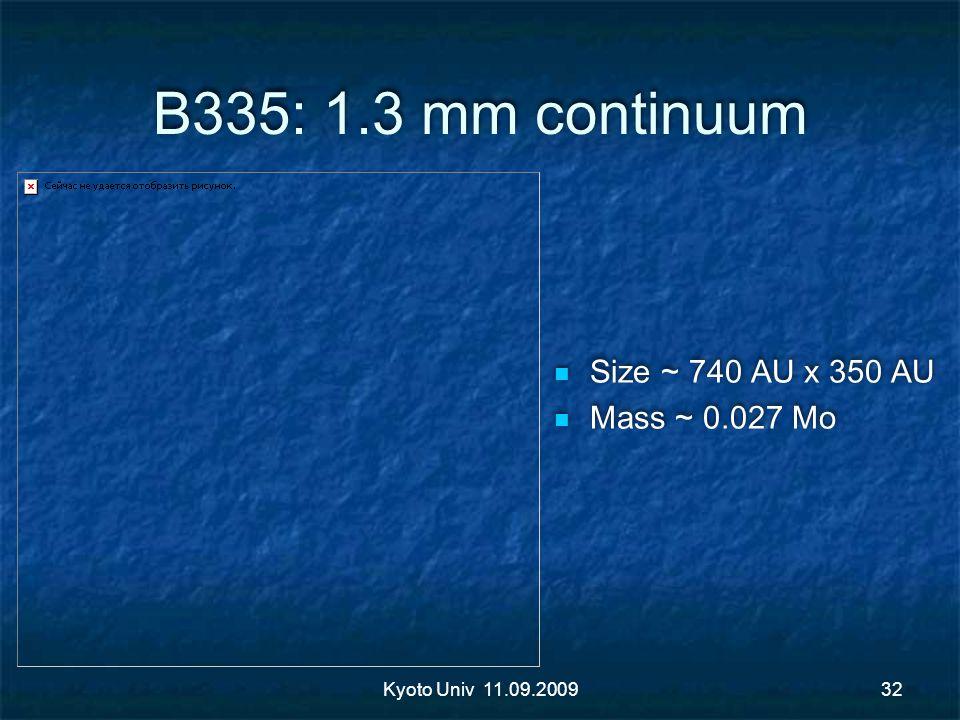 B335: 1.3 mm continuum Size ~ 740 AU x 350 AU Mass ~ 0.027 Mo Size ~ 740 AU x 350 AU Mass ~ 0.027 Mo Kyoto Univ 11.09.200932