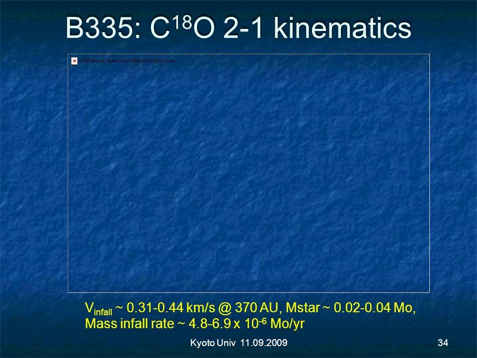 B335: C 18 O 2-1 kinematics Kyoto Univ 11.09.200934 V infall ~ 0.31-0.44 km/s @ 370 AU, Mstar ~ 0.02-0.04 Mo, Mass infall rate ~ 4.8-6.9 x 10 -6 Mo/yr