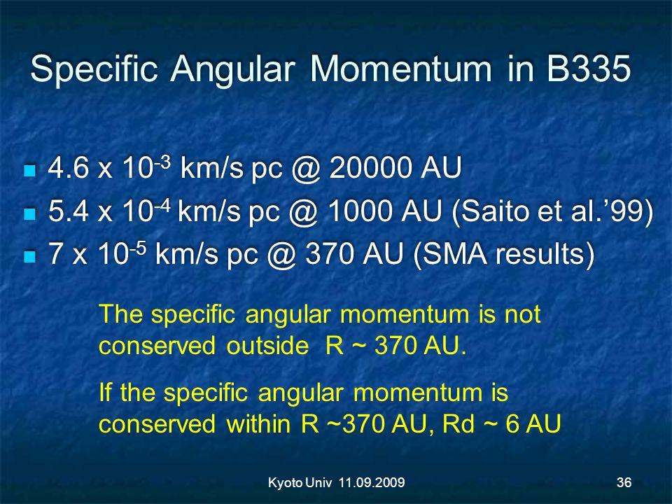 Specific Angular Momentum in B335 4.6 x 10 -3 km/s pc @ 20000 AU 5.4 x 10 -4 km/s pc @ 1000 AU (Saito et al.99) 7 x 10 -5 km/s pc @ 370 AU (SMA result
