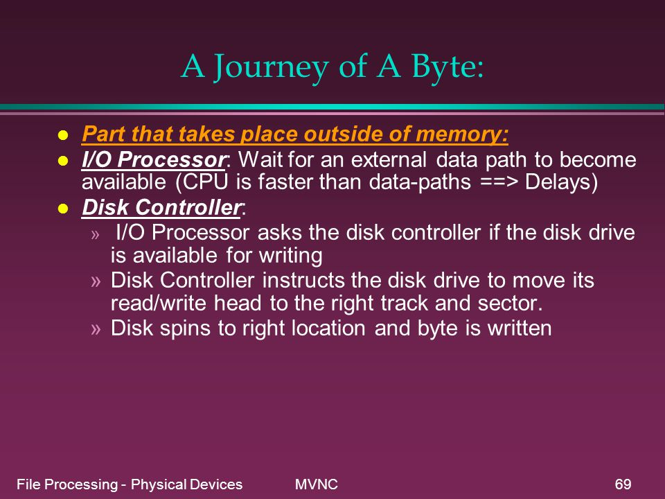 File Processing - Physical Devices MVNC69 l Part that takes place outside of memory: l I/O Processor: Wait for an external data path to become availab