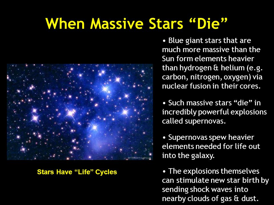 Stars have life cycles. They are born and they die but are not alive like us.