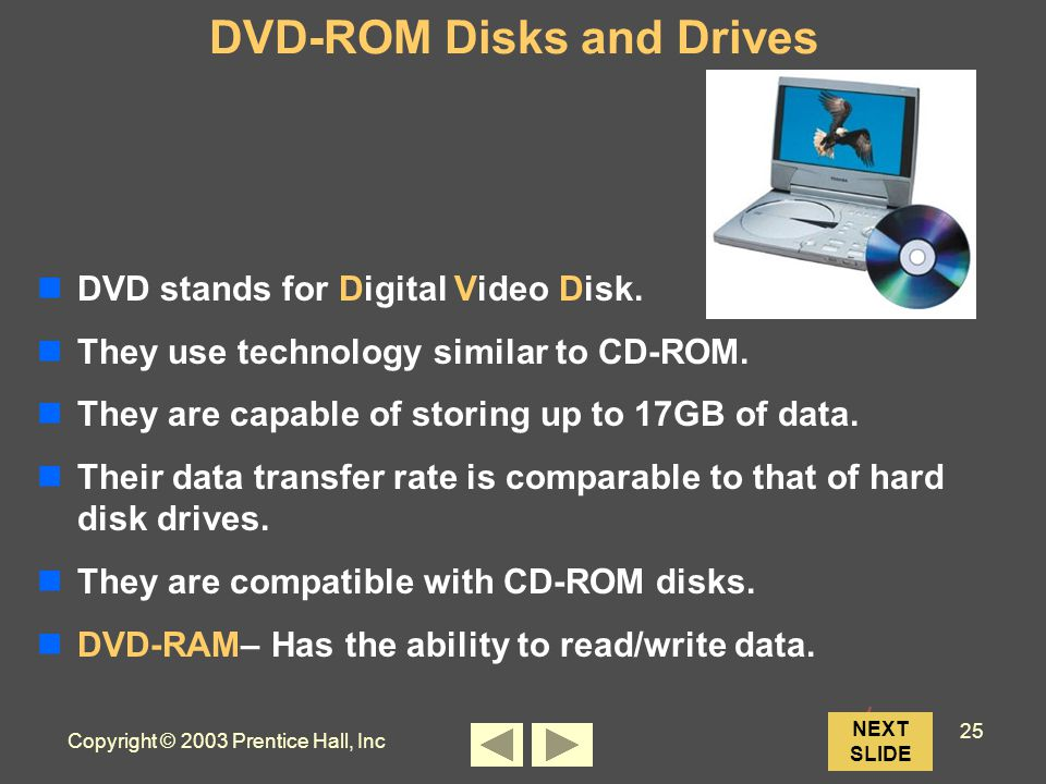 Copyright © 2003 Prentice Hall, Inc 25 NEXT SLIDE DVD-ROM Disks and Drives DVD stands for Digital Video Disk.