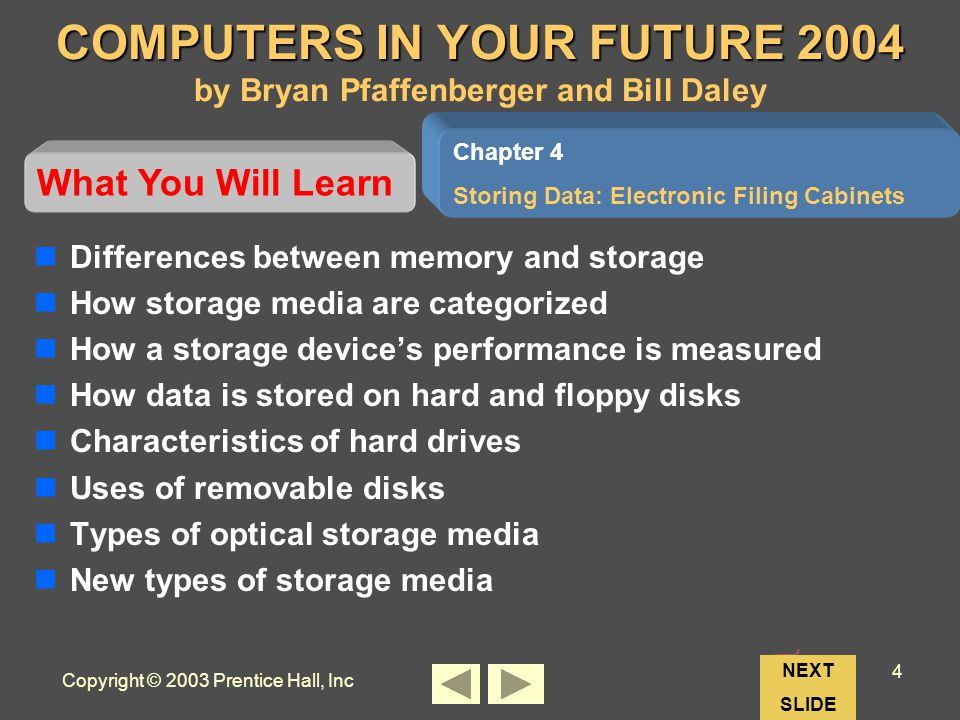 Copyright © 2003 Prentice Hall, Inc 4 Chapter 4 Storing Data: Electronic Filing Cabinets COMPUTERS IN YOUR FUTURE 2004 COMPUTERS IN YOUR FUTURE 2004 by Bryan Pfaffenberger and Bill Daley Differences between memory and storage How storage media are categorized How a storage devices performance is measured How data is stored on hard and floppy disks Characteristics of hard drives Uses of removable disks Types of optical storage media New types of storage media Chapter 4 Storing Data: Electronic Filing Cabinets What You Will Learn NEXT SLIDE