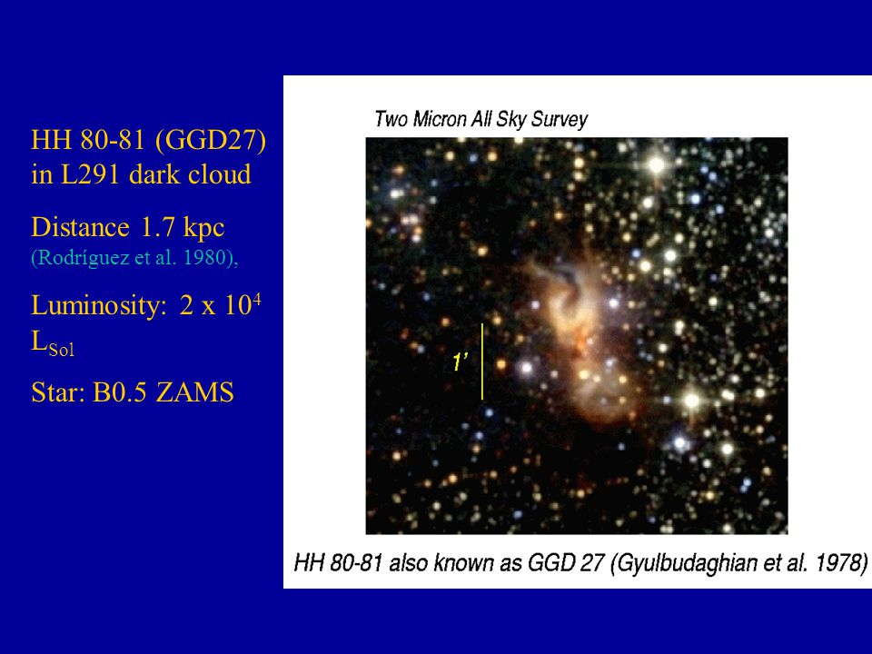 HH 80-81 (GGD27) in L291 dark cloud Distance 1.7 kpc (Rodríguez et al.