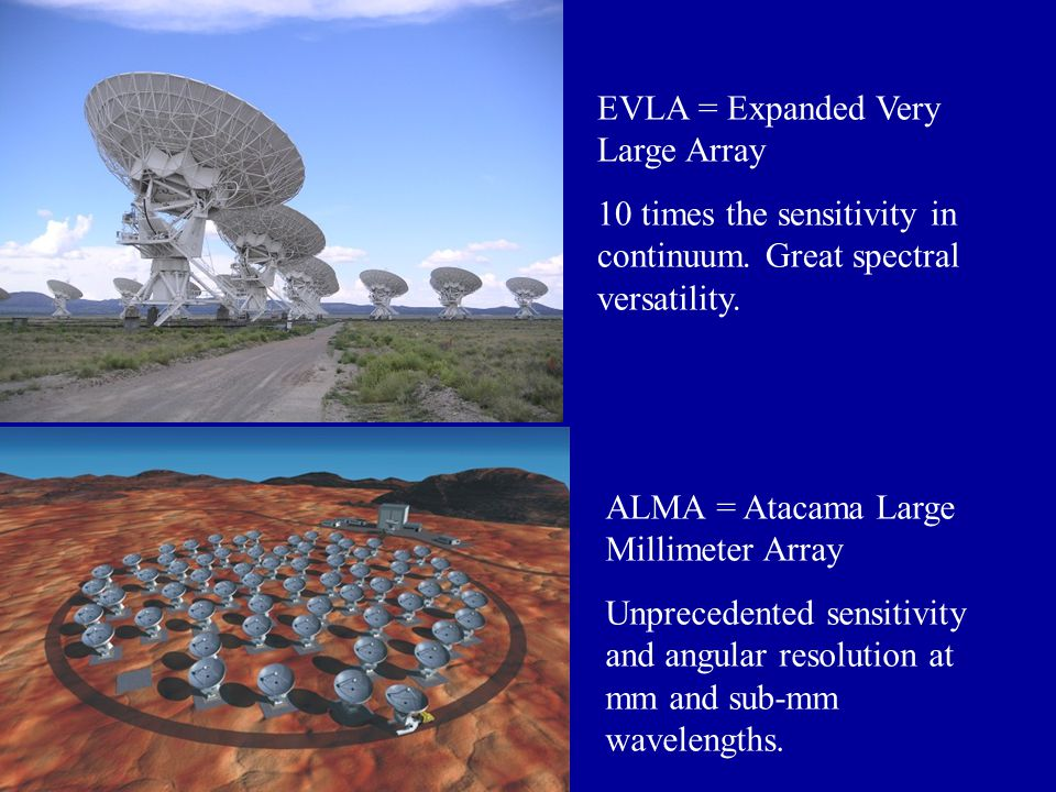 EVLA = Expanded Very Large Array 10 times the sensitivity in continuum.