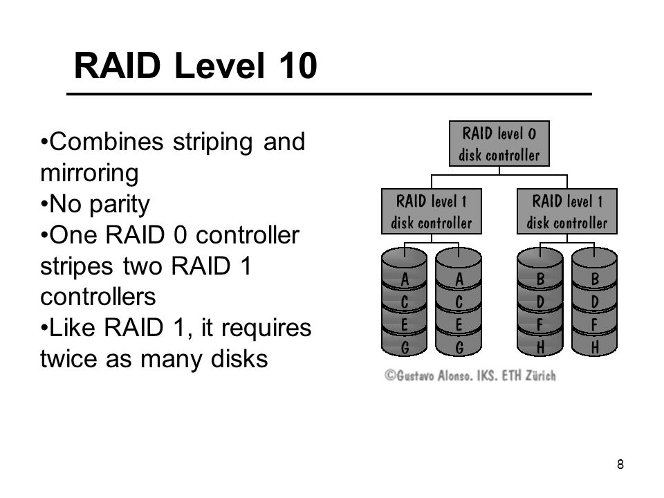 8 RAID Level 10 Combines striping and mirroring No parity One RAID 0 controller stripes two RAID 1 controllers Like RAID 1, it requires twice as many disks