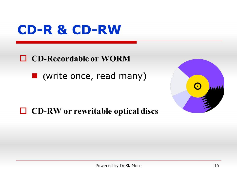 CD-R & CD-RW CD-Recordable or WORM ( write once, read many) CD-RW or rewritable optical discs Powered by DeSiaMore16