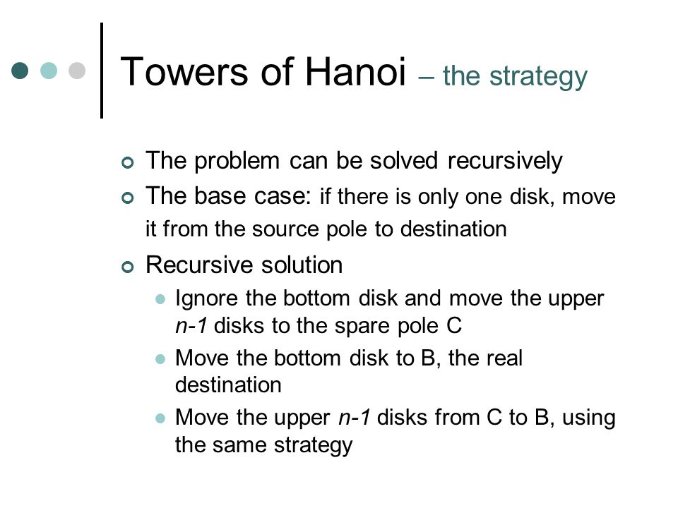 Towers of Hanoi – the strategy The problem can be solved recursively The base case: if there is only one disk, move it from the source pole to destination Recursive solution Ignore the bottom disk and move the upper n-1 disks to the spare pole C Move the bottom disk to B, the real destination Move the upper n-1 disks from C to B, using the same strategy