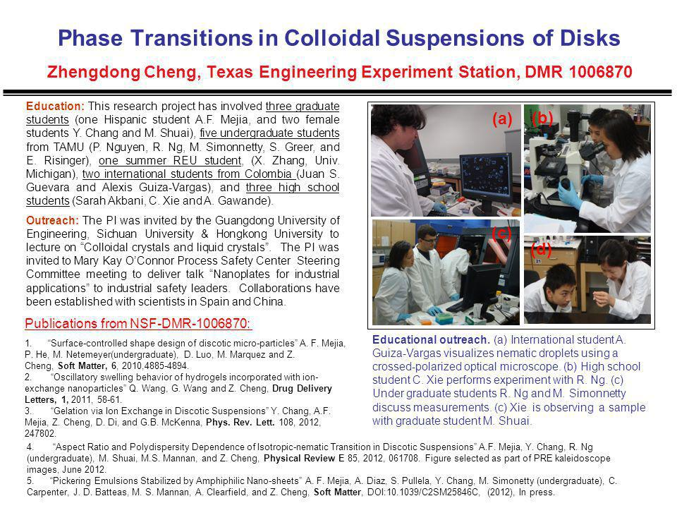 Phase Transitions in Colloidal Suspensions of Disks Zhengdong Cheng, Texas Engineering Experiment Station, DMR