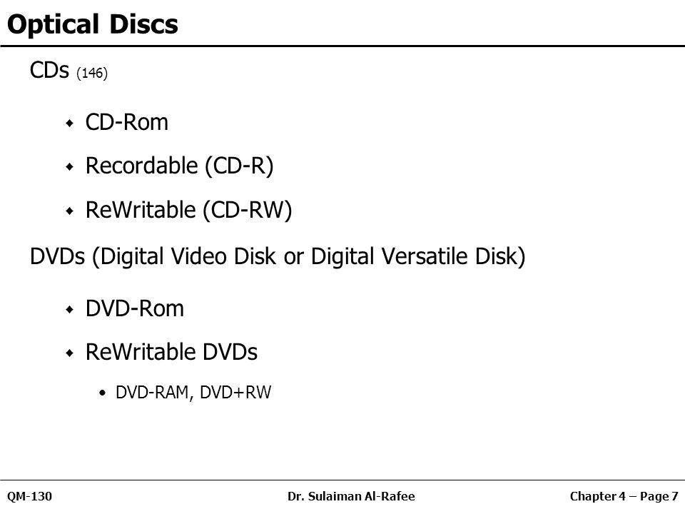Chapter 4 – Page 7QM-130Dr. Sulaiman Al-Rafee Optical Discs CDs (146) CD-Rom Recordable (CD-R) ReWritable (CD-RW) DVDs (Digital Video Disk or Digital