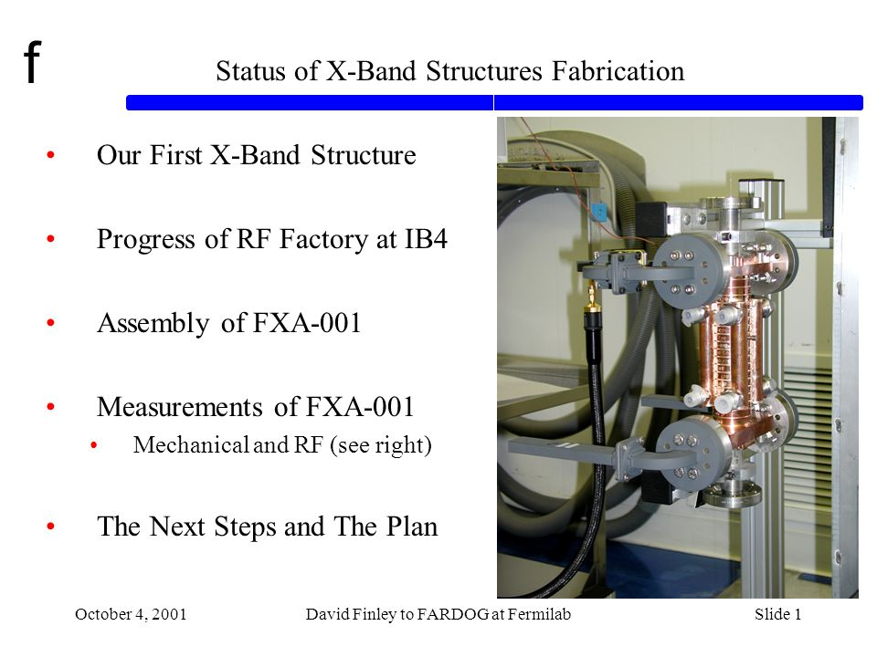 f October 4, 2001David Finley to FARDOG at FermilabSlide 12 Straightness QC on FXA-001 in IB4 (Tug Arkan, Ted Beale, Rob Riley)