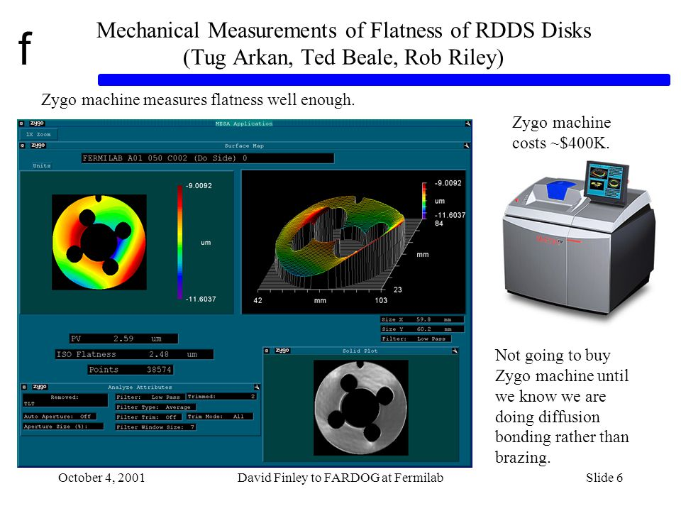 f October 4, 2001David Finley to FARDOG at FermilabSlide 6 Mechanical Measurements of Flatness of RDDS Disks (Tug Arkan, Ted Beale, Rob Riley) Zygo machine measures flatness well enough.