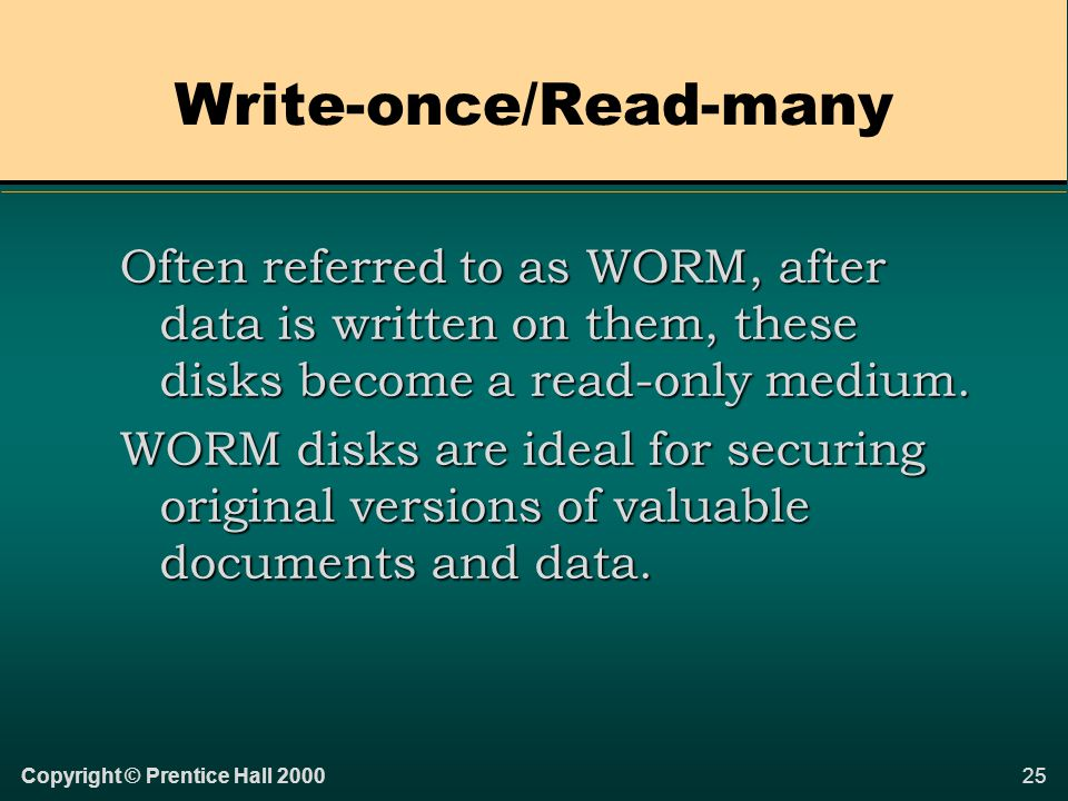 24Copyright © Prentice Hall 2000 Read-Only These disks can only be read from, not written to.