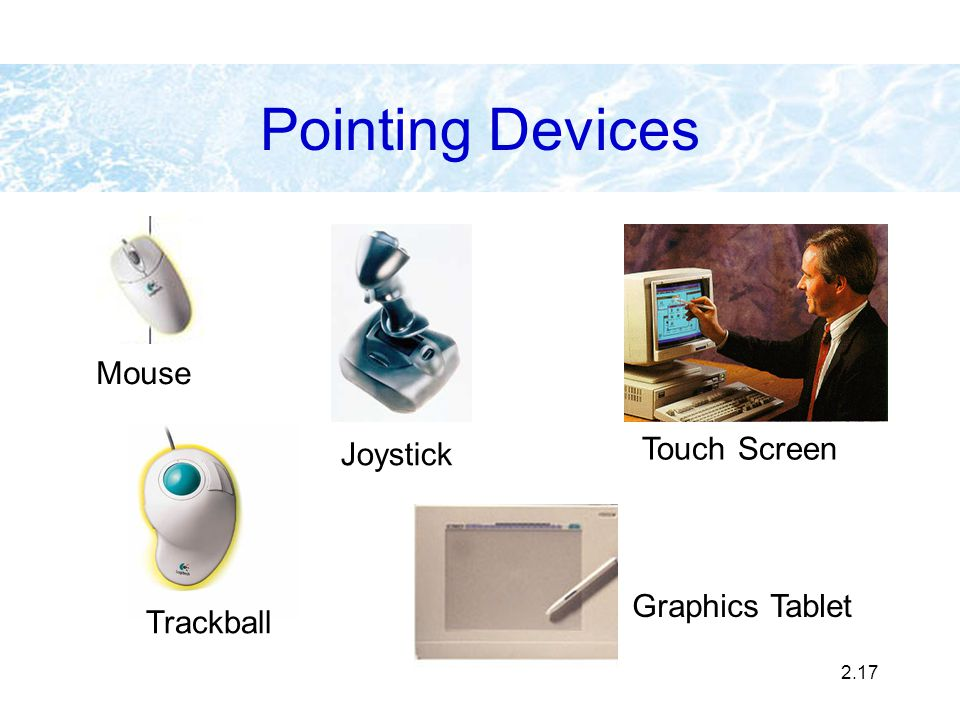 2.17 Mouse Trackball Joystick Graphics Tablet Touch Screen Pointing Devices