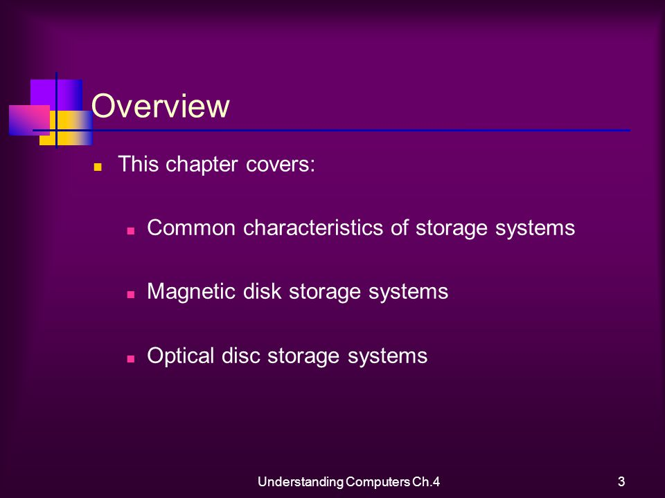 Understanding Computers Ch.43 Overview This chapter covers: Common characteristics of storage systems Magnetic disk storage systems Optical disc storage systems