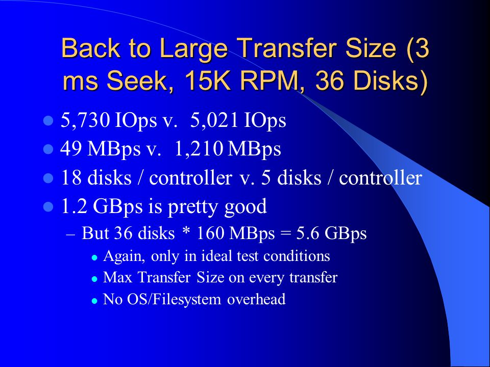 Back to Large Transfer Size (3 ms Seek, 15K RPM, 36 Disks) 5,730 IOps v.
