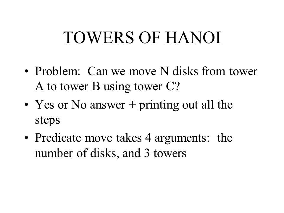 TOWERS OF HANOI Problem: Can we move N disks from tower A to tower B using tower C.