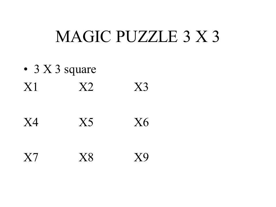 MAGIC PUZZLE 3 X 3 3 X 3 square X1X2X3 X4X5X6 X7X8X9