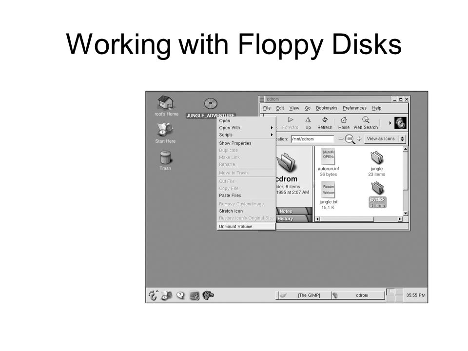 Working with Floppy Disks Figure 6-7: Unmounting a CD-ROM device in a GUI environment