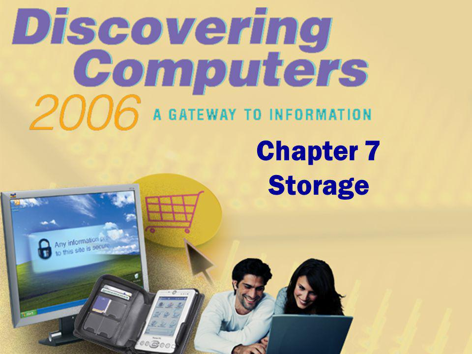Chapter 7 Objectives Differentiate between storage devices and storage media Describe the characteristics of magnetic disks Differentiate between floppy disks and Zip disks Describe the characteristics of a hard disk Describe the characteristics of optical discs Differentiate among CD-ROMs, recordable CDs, rewritable CDs, DVD-ROMs, recordable DVDs, and rewritable DVDs Identify the uses of tape Discuss PC Cards and the various types of miniature mobile storage media Identify uses of microfilm and microfiche Next