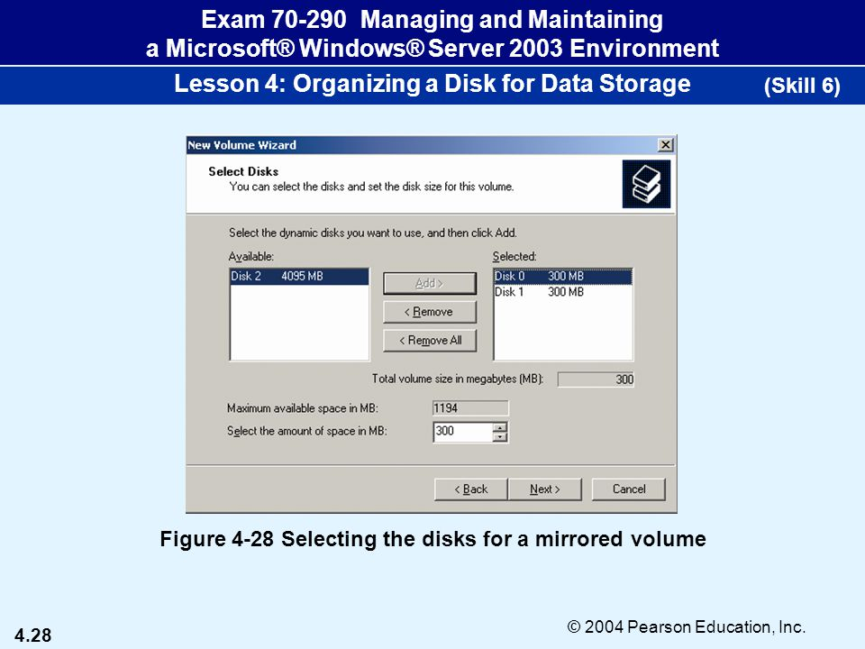 4.28 © 2004 Pearson Education, Inc. Exam 70-290 Managing and Maintaining a Microsoft® Windows® Server 2003 Environment Lesson 4: Organizing a Disk for