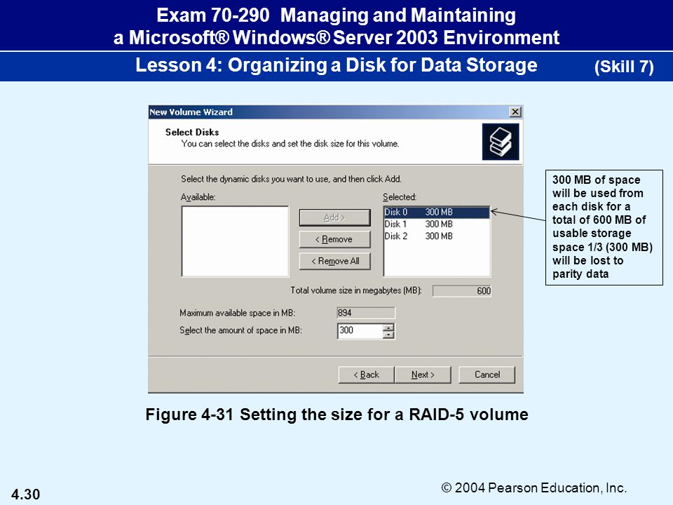 4.30 © 2004 Pearson Education, Inc. Exam 70-290 Managing and Maintaining a Microsoft® Windows® Server 2003 Environment Lesson 4: Organizing a Disk for