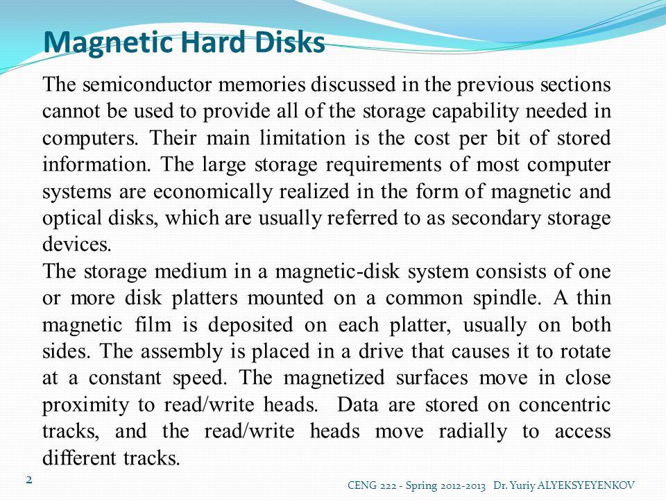 Magnetic Hard Disks CENG 222 - Spring 2012-2013 Dr. Yuriy ALYEKSYEYENKOV 3