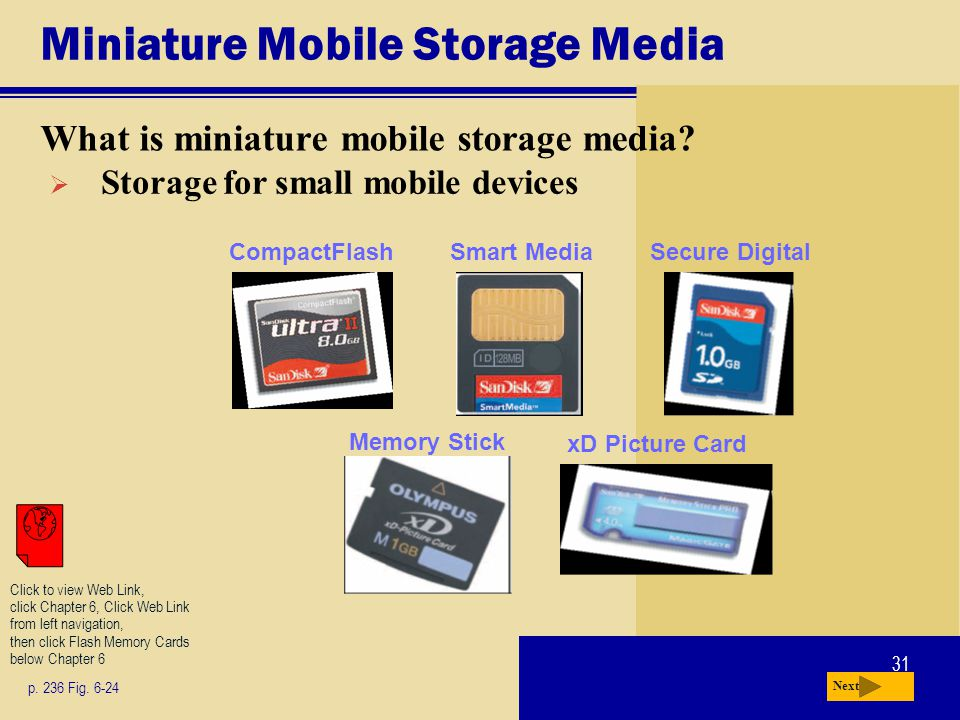 31 Miniature Mobile Storage Media What is miniature mobile storage media? p. 236 Fig. 6-24 Next Storage for small mobile devices Click to view Web Lin