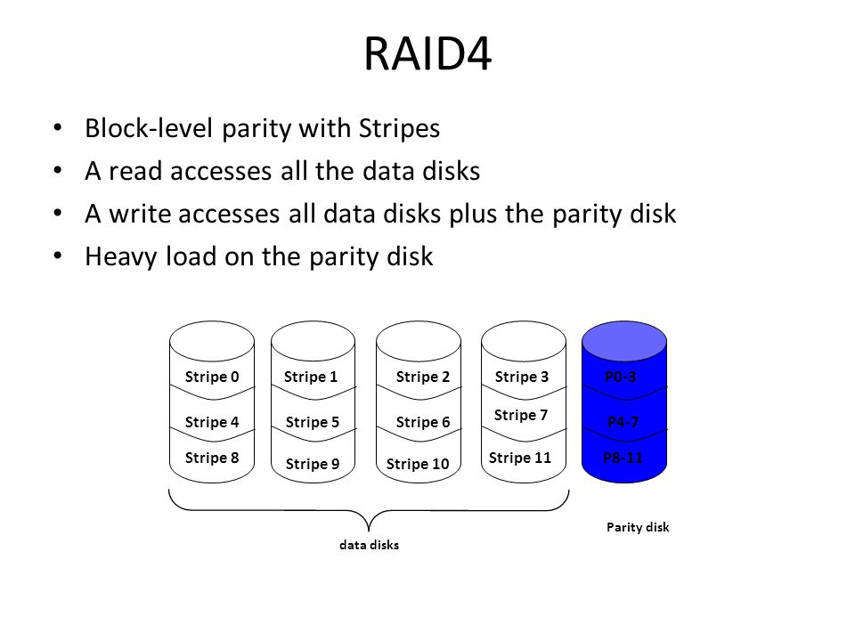 RAID4 Block-level parity with Stripes A read accesses all the data disks A write accesses all data disks plus the parity disk Heavy load on the parity disk data disks Parity disk Stripe 0Stripe 3Stripe 1Stripe 2P0-3 Stripe 4 Stripe 8 Stripe 10 Stripe 11 Stripe 7 Stripe 6Stripe 5 Stripe 9 P4-7 P8-11