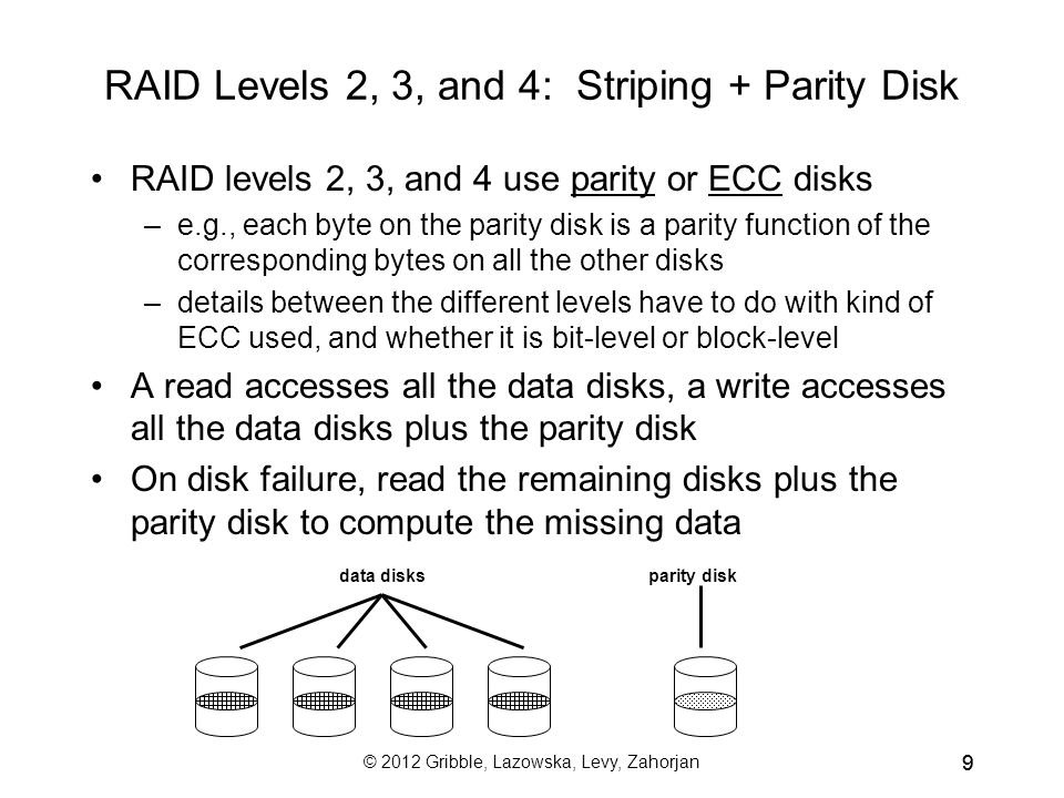 © 2012 Gribble, Lazowska, Levy, Zahorjan 99 RAID Levels 2, 3, and 4: Striping + Parity Disk RAID levels 2, 3, and 4 use parity or ECC disks –e.g., each byte on the parity disk is a parity function of the corresponding bytes on all the other disks –details between the different levels have to do with kind of ECC used, and whether it is bit-level or block-level A read accesses all the data disks, a write accesses all the data disks plus the parity disk On disk failure, read the remaining disks plus the parity disk to compute the missing data data disksparity disk