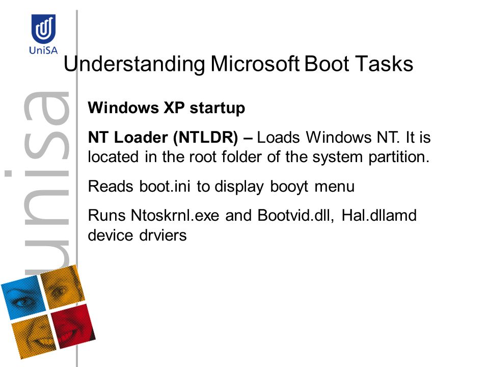 Understanding Microsoft Boot Tasks Windows XP startup NT Loader (NTLDR) – Loads Windows NT.