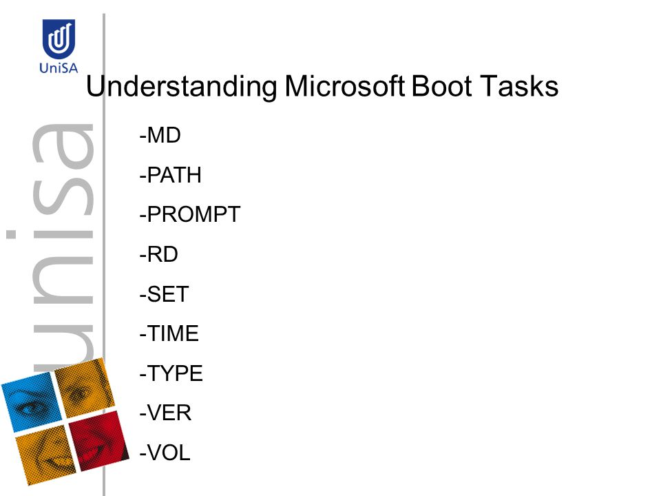 Understanding Microsoft Boot Tasks -MD -PATH -PROMPT -RD -SET -TIME -TYPE -VER -VOL