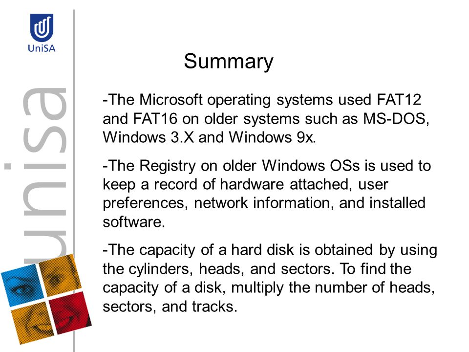 Summary -The Microsoft operating systems used FAT12 and FAT16 on older systems such as MS-DOS, Windows 3.X and Windows 9x.