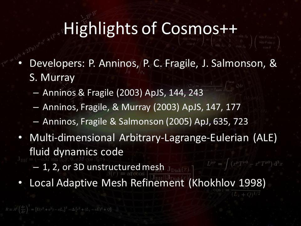 Highlights of Cosmos++ Developers: P. Anninos, P.