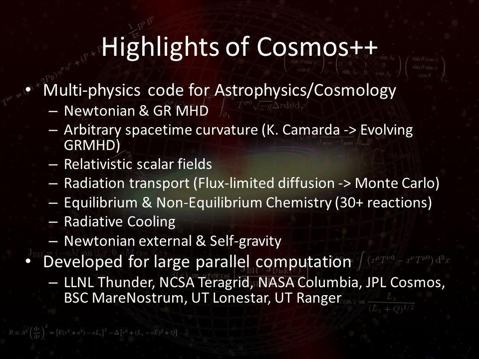 Highlights of Cosmos++ Multi-physics code for Astrophysics/Cosmology – Newtonian & GR MHD – Arbitrary spacetime curvature (K.