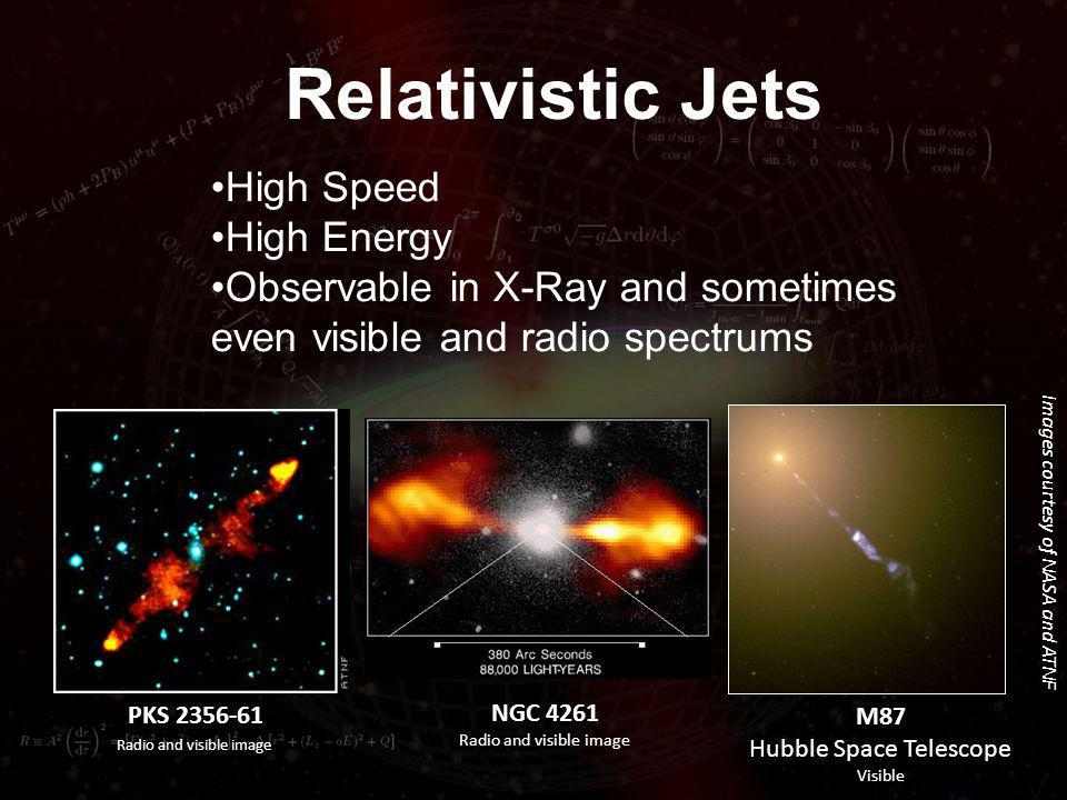 Relativistic Jets Images courtesy of NASA and ATNF High Speed High Energy Observable in X-Ray and sometimes even visible and radio spectrums M87 Hubble Space Telescope Visible NGC 4261 Radio and visible image PKS 2356-61 Radio and visible image