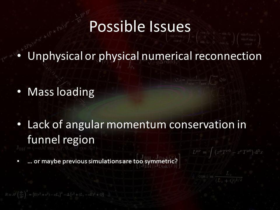 Possible Issues Unphysical or physical numerical reconnection Mass loading Lack of angular momentum conservation in funnel region … or maybe previous simulations are too symmetric?