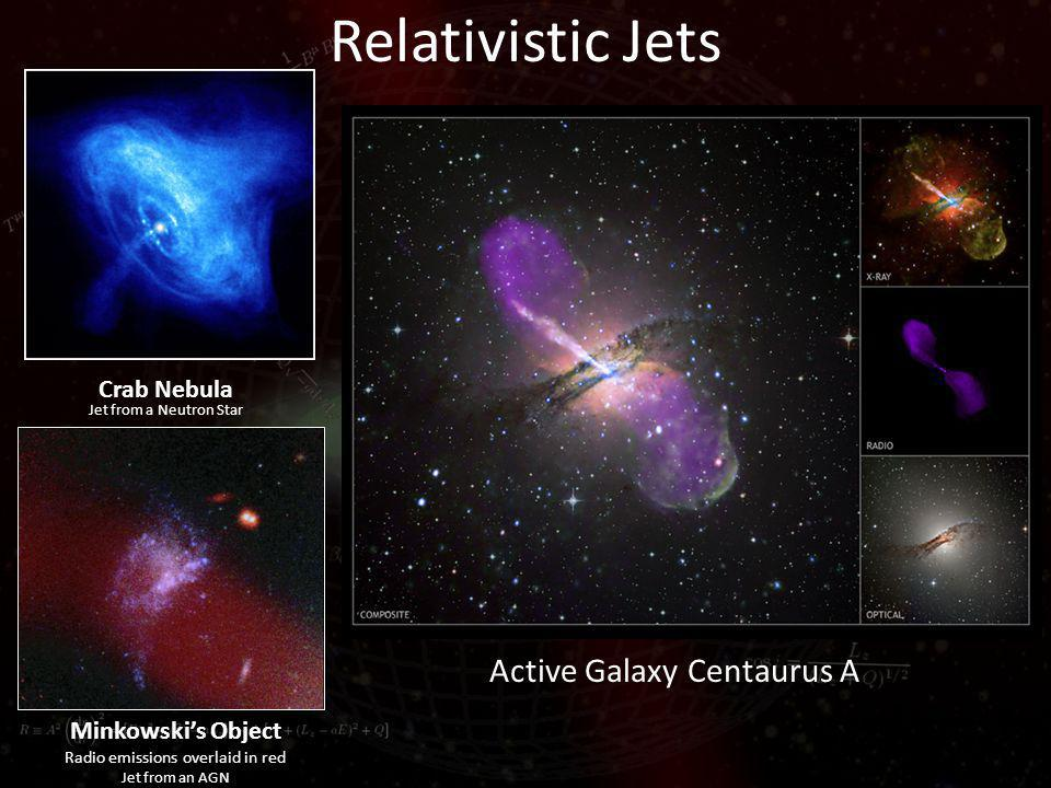 Relativistic Jets Minkowskis Object Radio emissions overlaid in red Jet from an AGN Crab Nebula Jet from a Neutron Star Active Galaxy Centaurus A