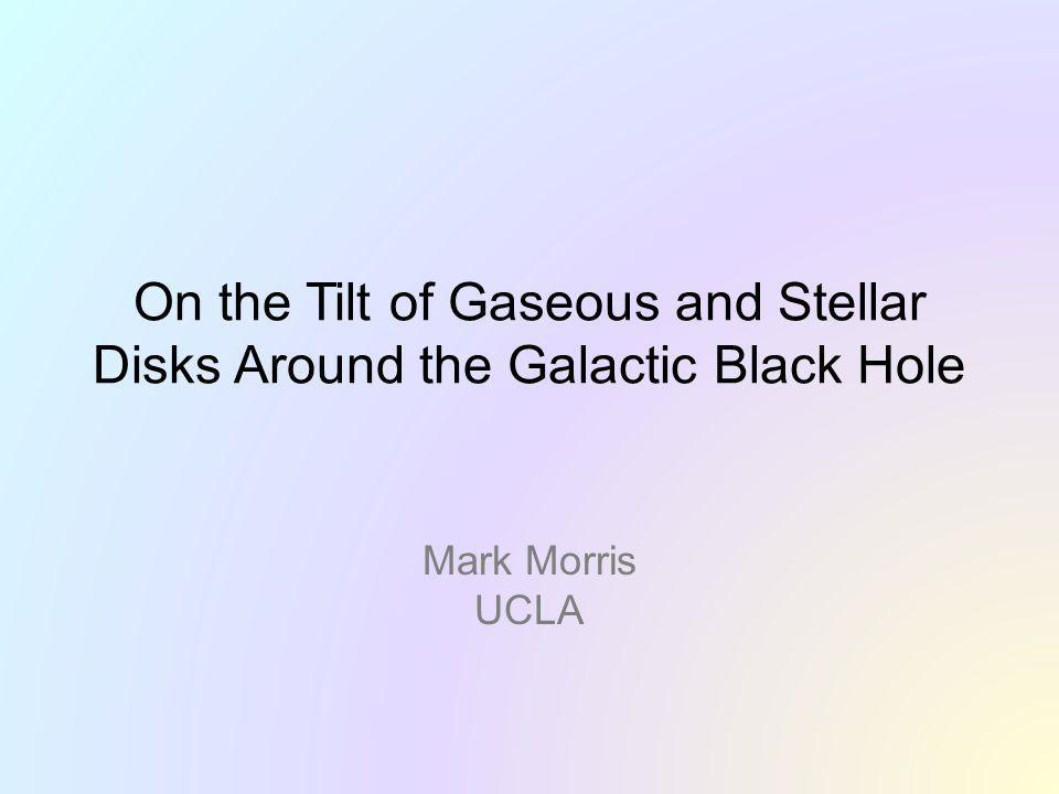 ABSTRACT -- The well-defined, massive disk of young stars orbiting within 0.5 pc of the Galactic black hole (GBH) is strongly tilted with respect to the Galactic plane.