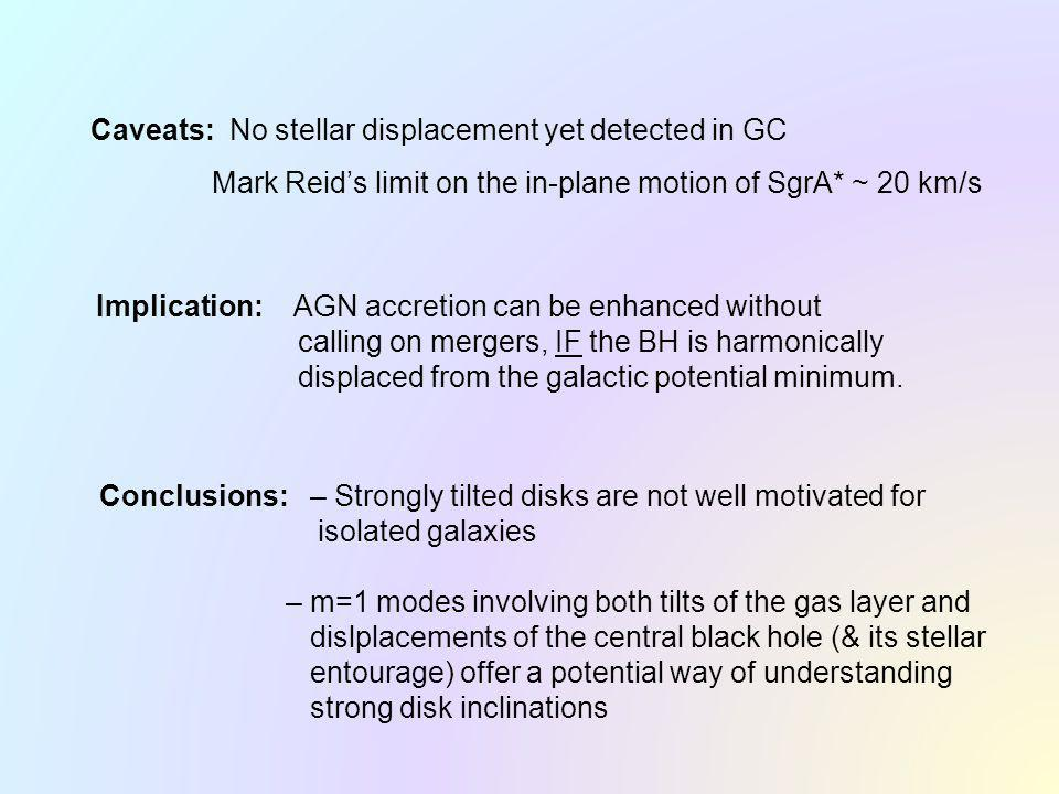 Caveats: No stellar displacement yet detected in GC Mark Reids limit on the in-plane motion of SgrA* ~ 20 km/s Implication: AGN accretion can be enhanced without calling on mergers, IF the BH is harmonically displaced from the galactic potential minimum.