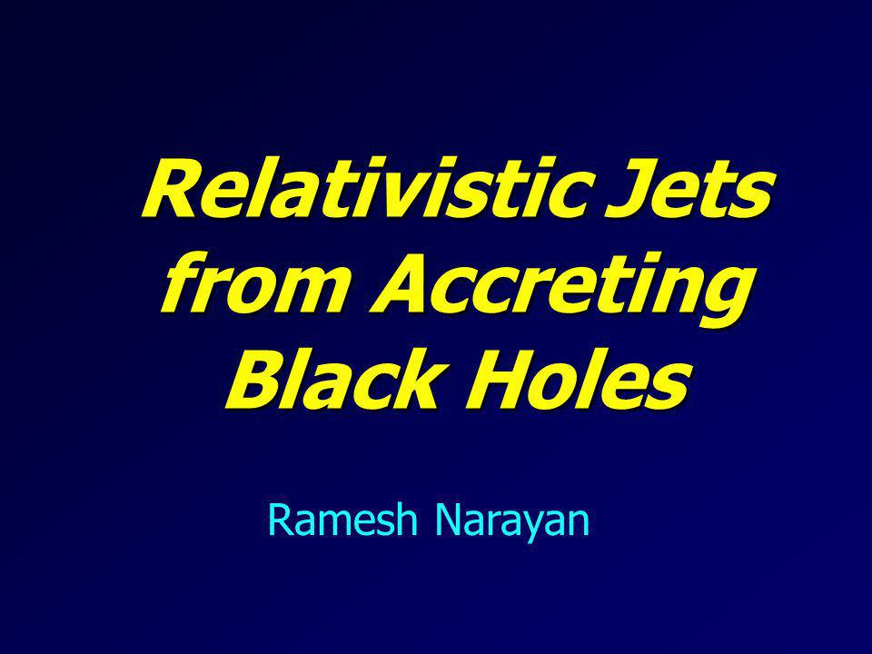 Jets are Widespread Relativistic Jets occur widely in accreting black holes (BHs): AGN, XRBs, GRBs A common robust mechanism must be producing all these Jets Best Bet: Magnetic field lines anchored on an underlying rotating object, getting wound up into a Spiral Outgoing Wave