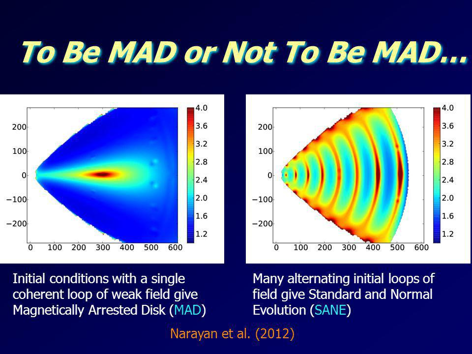 To Be MAD or Not To Be MAD… Initial conditions with a single coherent loop of weak field give Magnetically Arrested Disk (MAD) Many alternating initia