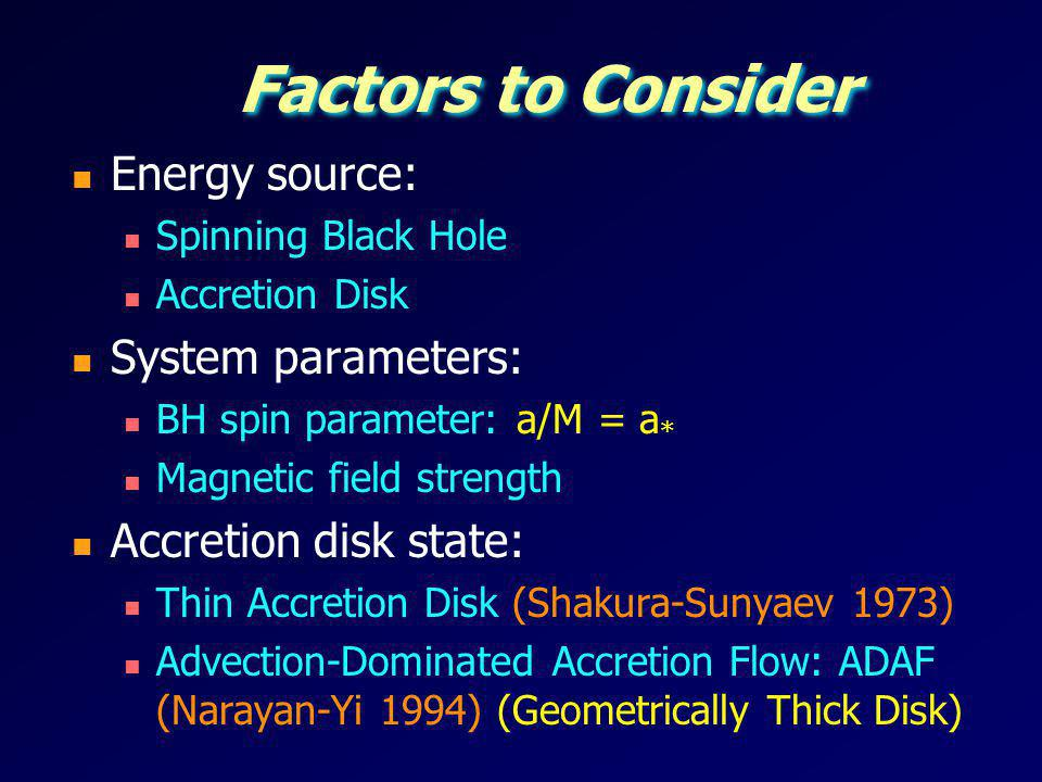 Mdot Regimes: Thin Disk vs ADAF Thin Accretion Disk: Thermal state XRBs Bright QSOs Geometrically Thick ADAF: Radiation-trapped ADAF (Slim Disk) Radiatively inefficient ADAF (RIAF) Huge parameter space Narayan & Quataert (2005) (M = 3M )