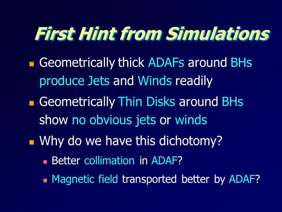 First Hint from Simulations Geometrically thick ADAFs around BHs produce Jets and Winds readily Geometrically Thin Disks around BHs show no obvious je