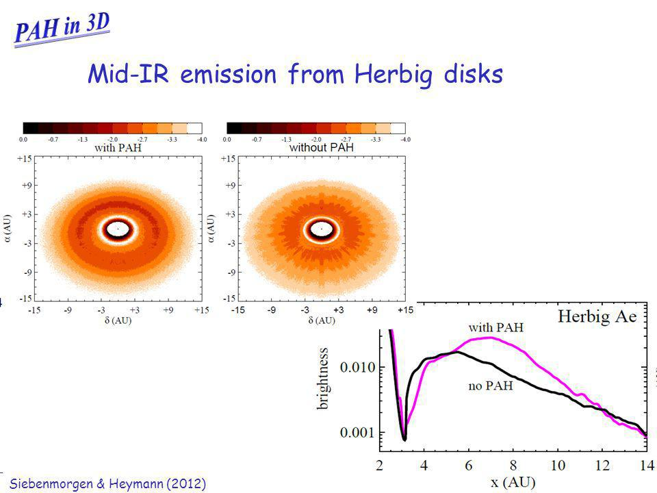 Ralf Siebenmorgen Shadows in planet forming disks Mid-IR emission from Herbig disks Siebenmorgen & Heymann (2012)