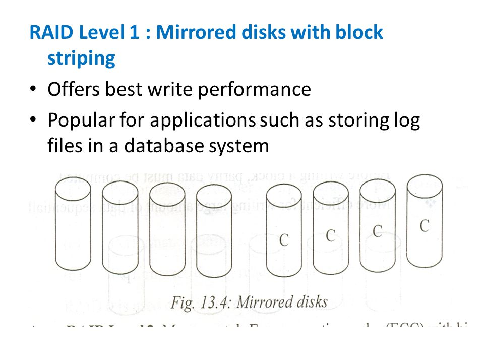 RAID Level 1 : Mirrored disks with block striping Offers best write performance Popular for applications such as storing log files in a database system